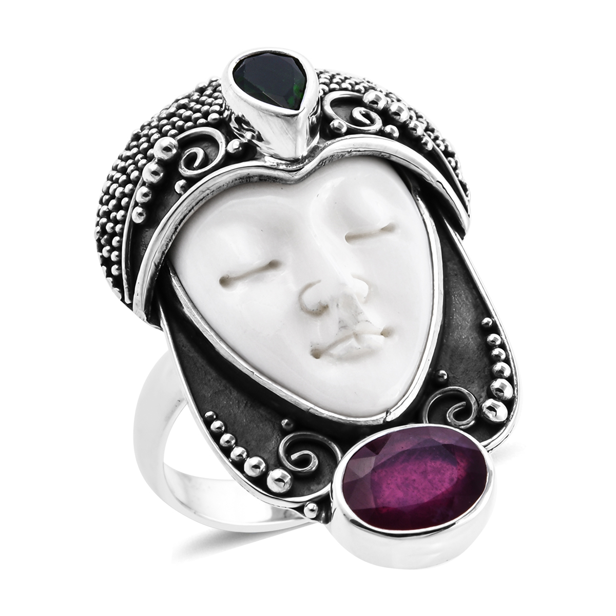 Bali Goddess Carved Bone, Multi Gemstone Ring in Sterling Silver (Size 7.0) 3.42 ctw