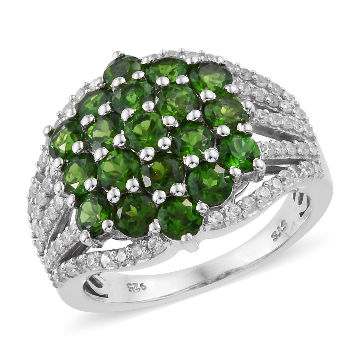 Russian Diopside, Cambodian Zircon Ring in Platinum Over Sterling Silver (Size 10.0) 4.65 ctw
