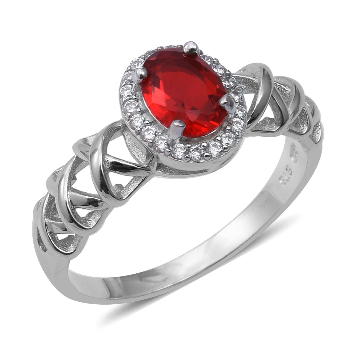 Criss-Cross Shank Halo Ring 925 Sterling Silver Cubic Zircon Red Cubic Zirconia CZ Jewelry for Women Size 7 Ct 1.5