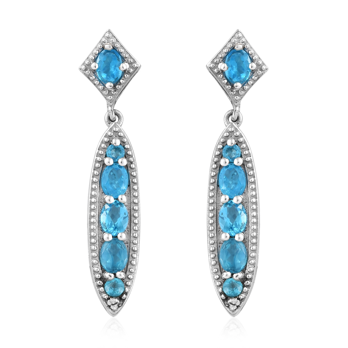 5d9f77d9be15f4 Malgache Neon Apatite Dangle Earrings in Platinum Over Sterling Silver 1.50  ctw