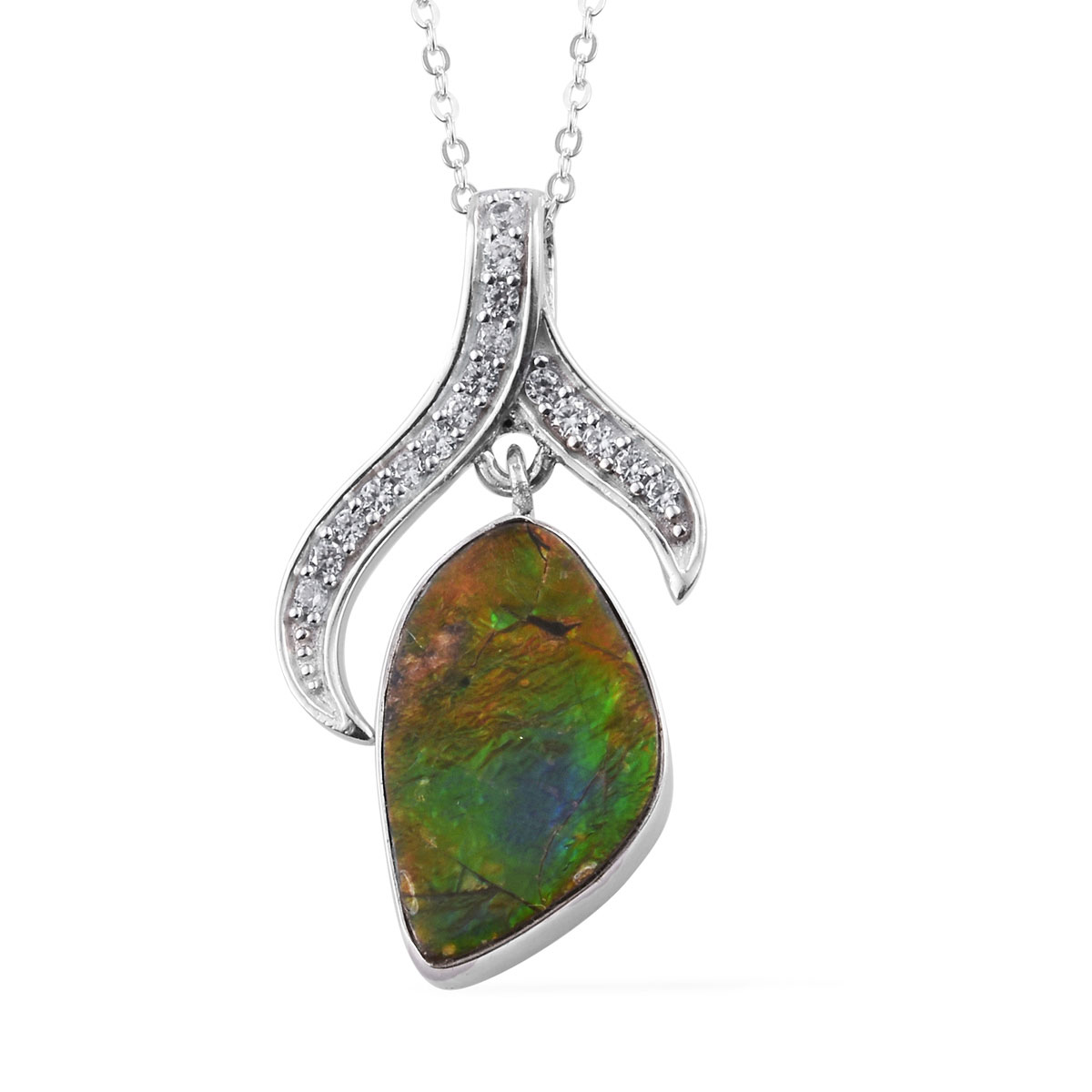 bc923b9cd Canadian Ammolite, Zircon Pendant Necklace (20 in) in Platinum Over  Sterling Silver 0.33 ...