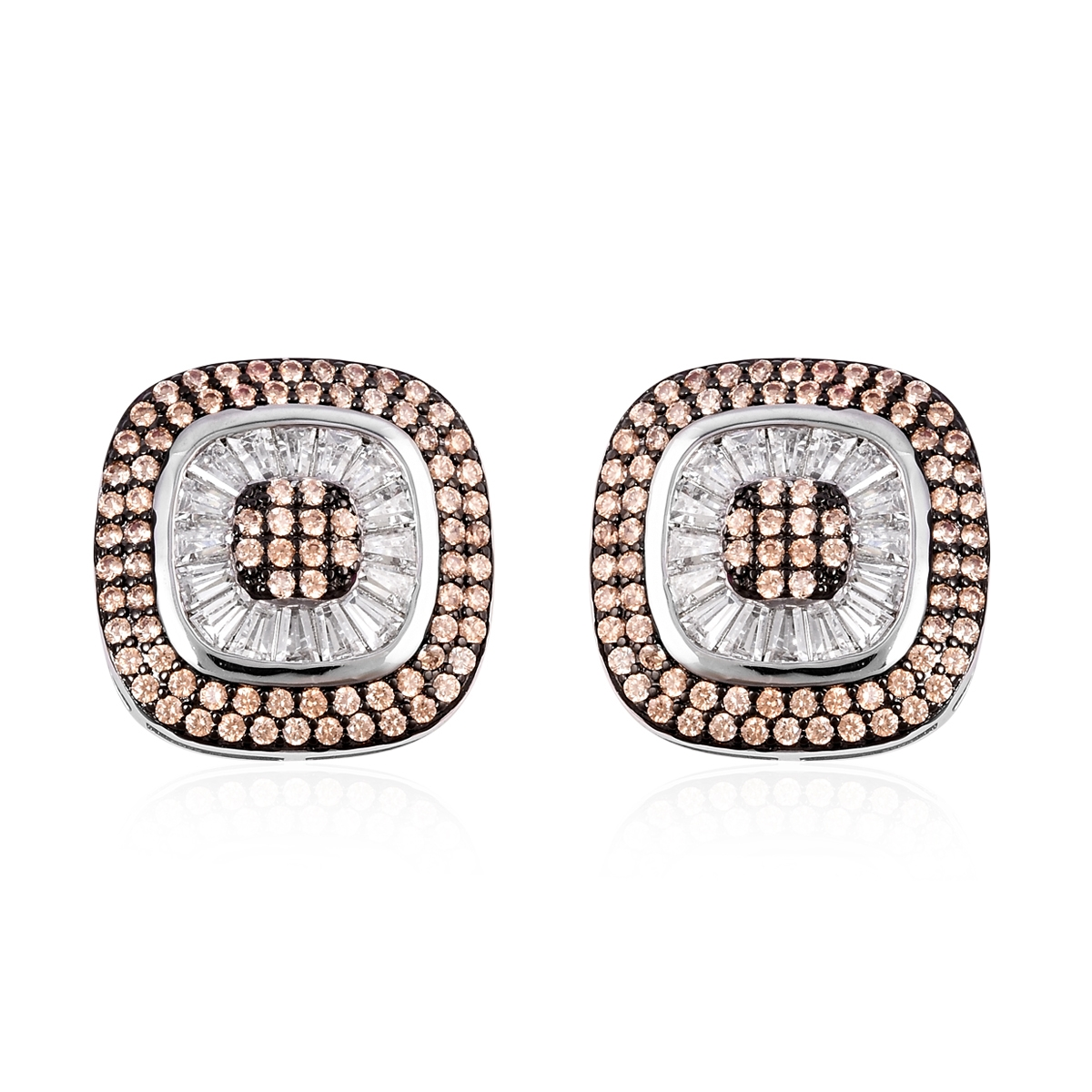 Champagne and White CZ Doultone Stud Earrings 4.71 ctw