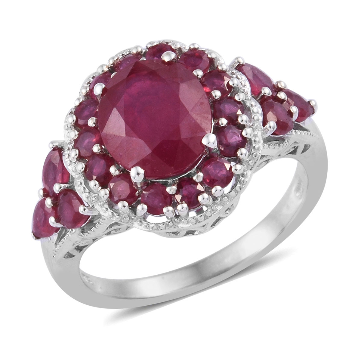 Fine Pink Opal Fissure Filled Ruby Halo Ring Silver Platinum Plated Size 10 Ct 1.75 Gemstone