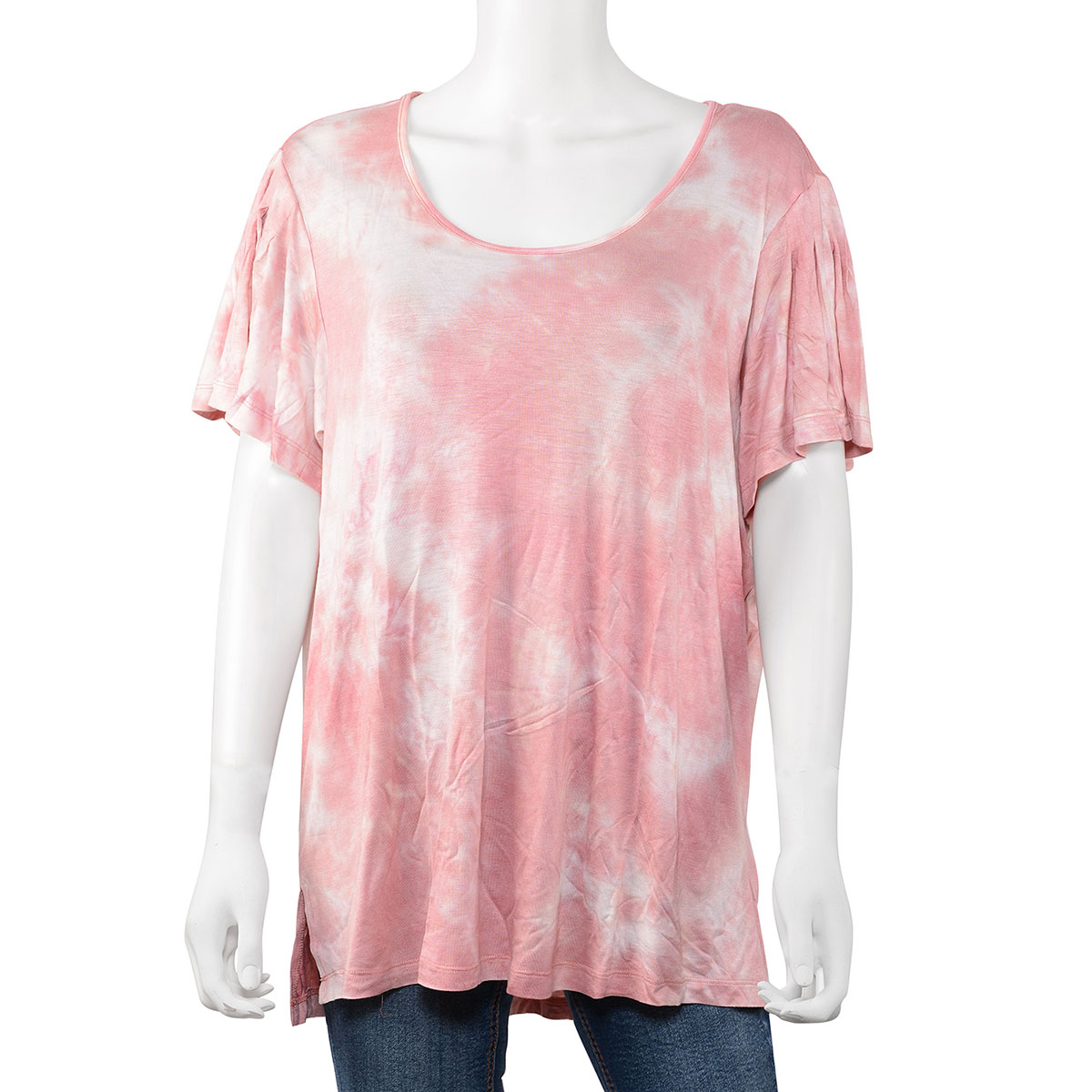 ba1d763bb99 ALKAMY Pink 96% Rayon and 4% Spandex Tie Dye Short Sleeve Top (XL ...