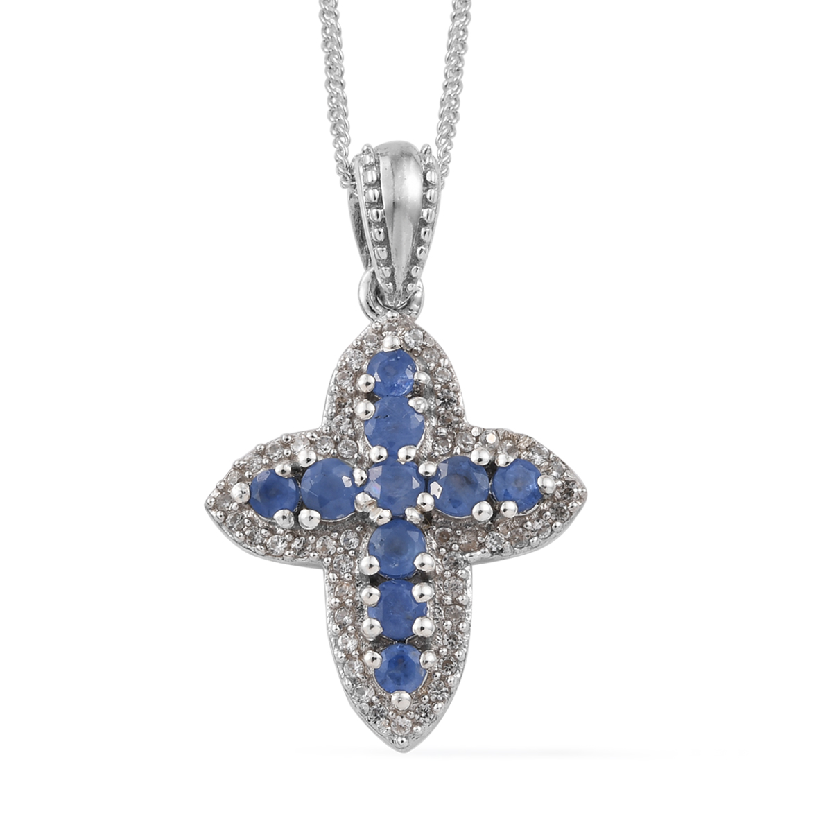78f134031 Burmese Blue Sapphire, Cambodian Zircon Cross Pendant Necklace (20 in) in  Platinum Over Sterling Silver 1.18 ctw | Shop LC