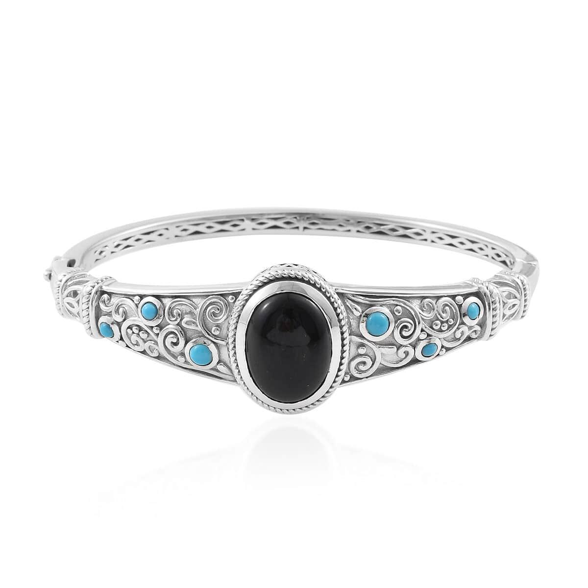 Bangle Bracelet Silver Black Jade Sleeping Beauty