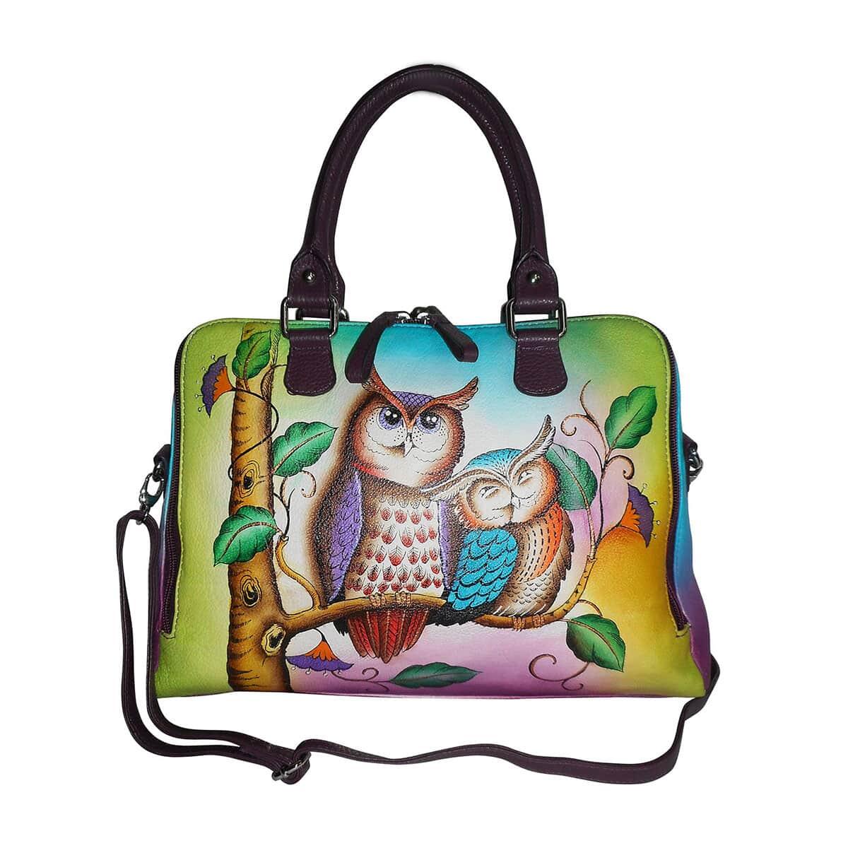 Details About Multi Color Owl Genuine Leather Rfid Crossbody Bag Removable Adjule Strap