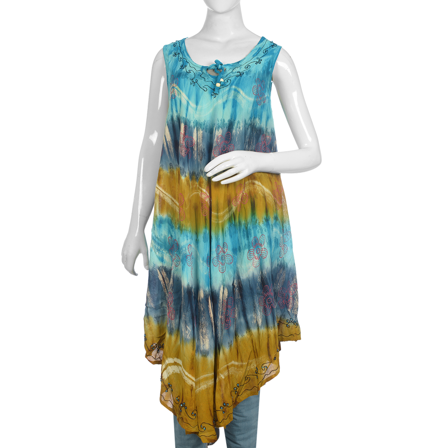 Blue, Multi Color Tie Dye Sleeveless Umbrella Dress (48x22