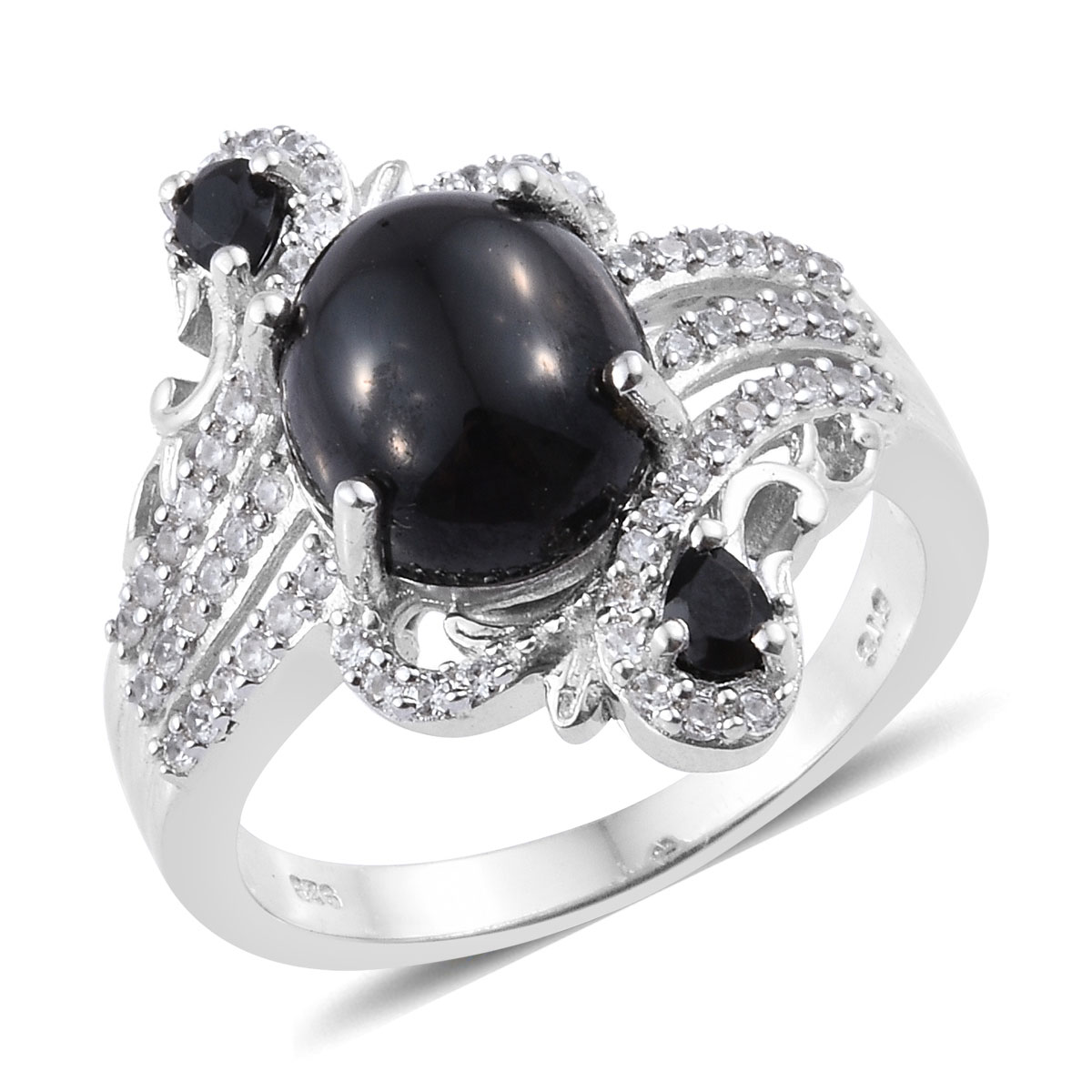Thai Black Spinel, Cambodian Zircon Ring (Size 11.0) in Platinum Over Sterling Silver 7.60 ctw