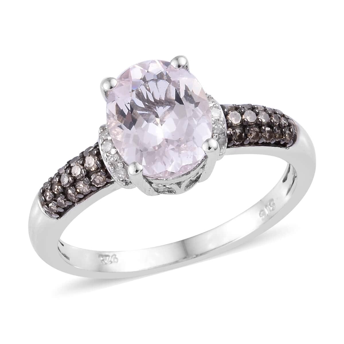 Marropino Pink Morganite, Diamond (0.25 ct) Ring in Rhodium & Platinum Over Sterling Silver (Size 9.0) 2.50 ctw