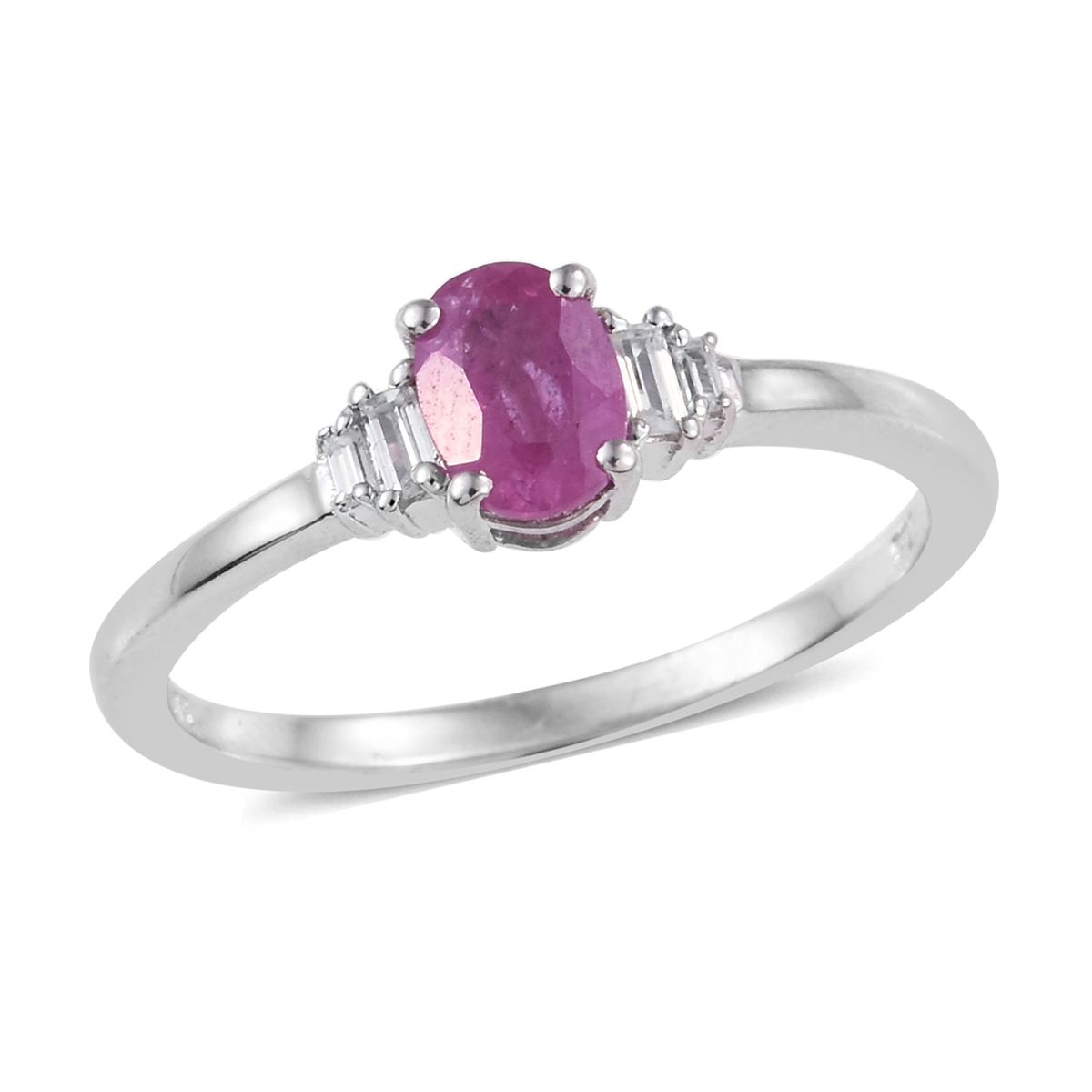 Ilakaka Hot Pink Sapphire, Cambodian Zircon Ring in Platinum Over Sterling Silver (Size 9.0) 1.56 ctw