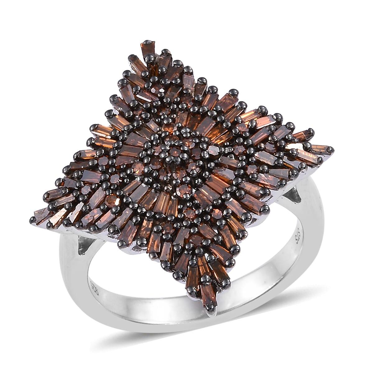 Array - red diamond  ir  ring in black rhodium  u0026 platinum over sterling silver  size 6 0  1 00 ctw  rh   shoplc com