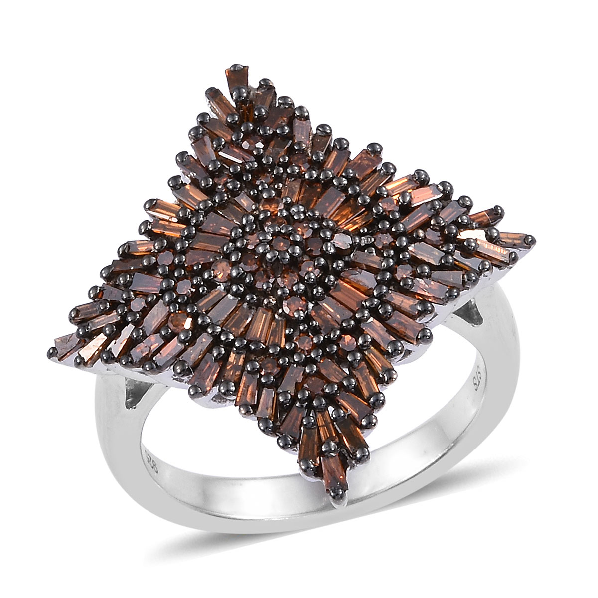 Array - tlv red diamond  ir  ring in black rhodium  u0026 platinum over sterling silver  size 8 0  1 00 ctw  rh   shoplc com