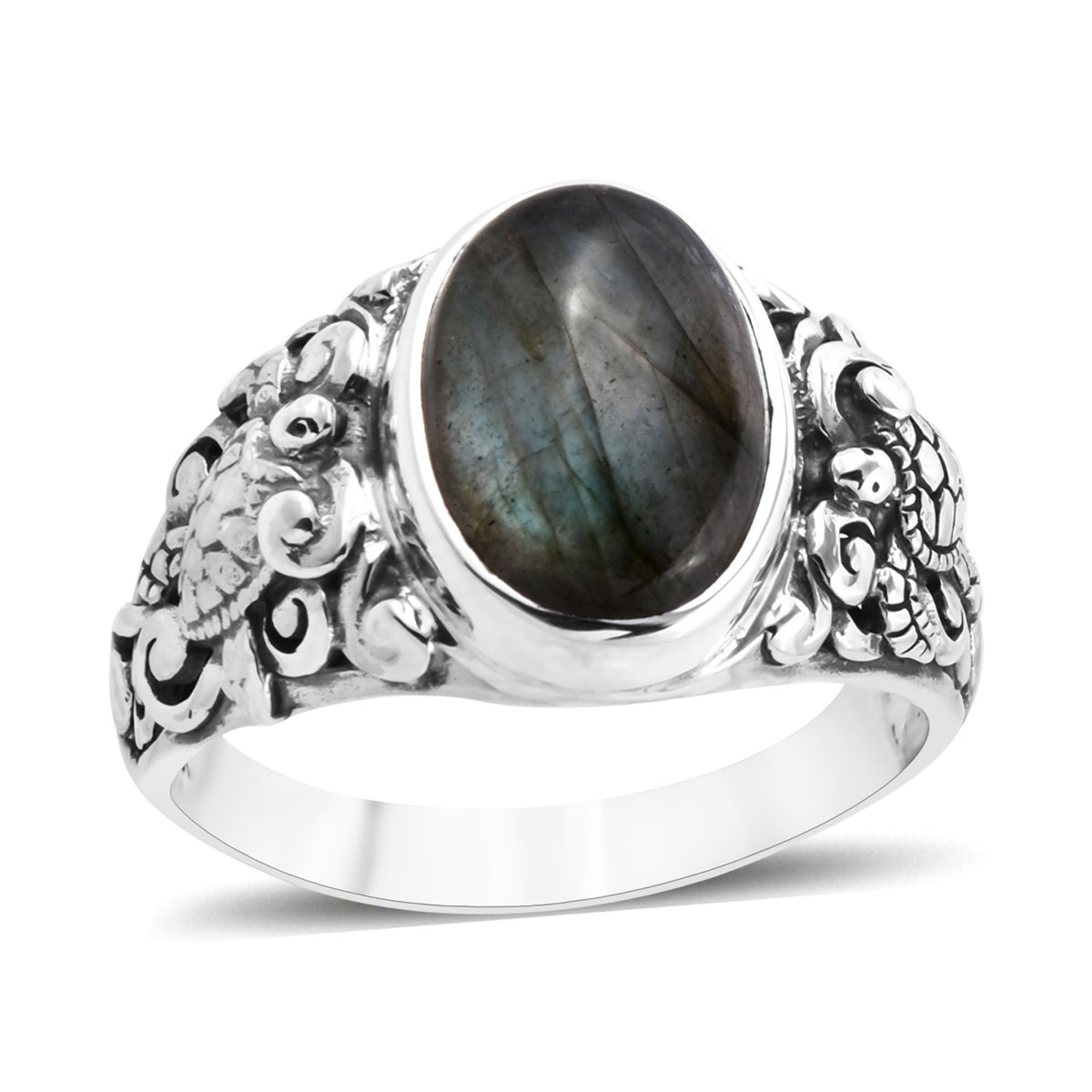 Bali Legacy Malagasy Labradorite Ring in Sterling Silver (Size 7.0) 7.13 ctw