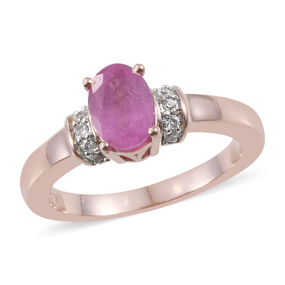 Ilakaka Hot Pink Sapphire, Cambodian Zircon Ring in Vermeil RG Over Sterling Silver (Size 9.0) 1.15 ctw