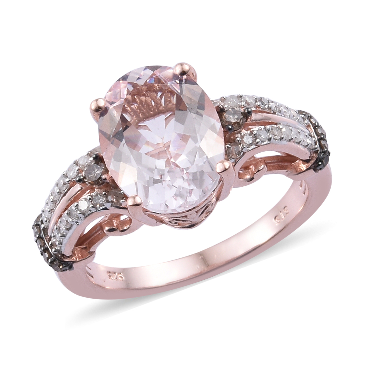 93c81b66095e8 Details about Pink Morganite Diamond Engagement Ring Silver Vermeil Rose  Gold Size 10 Ct 4.85