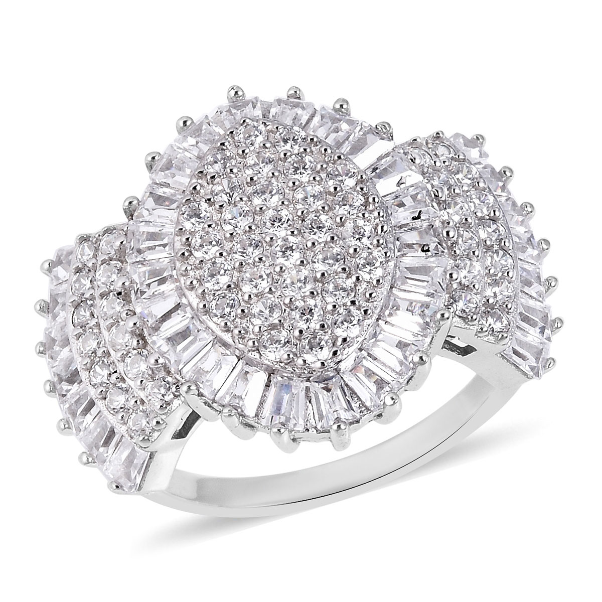 LUSTRO STELLA CZ Ring in Sterling Silver (Size 11.0) 3.56 ctw