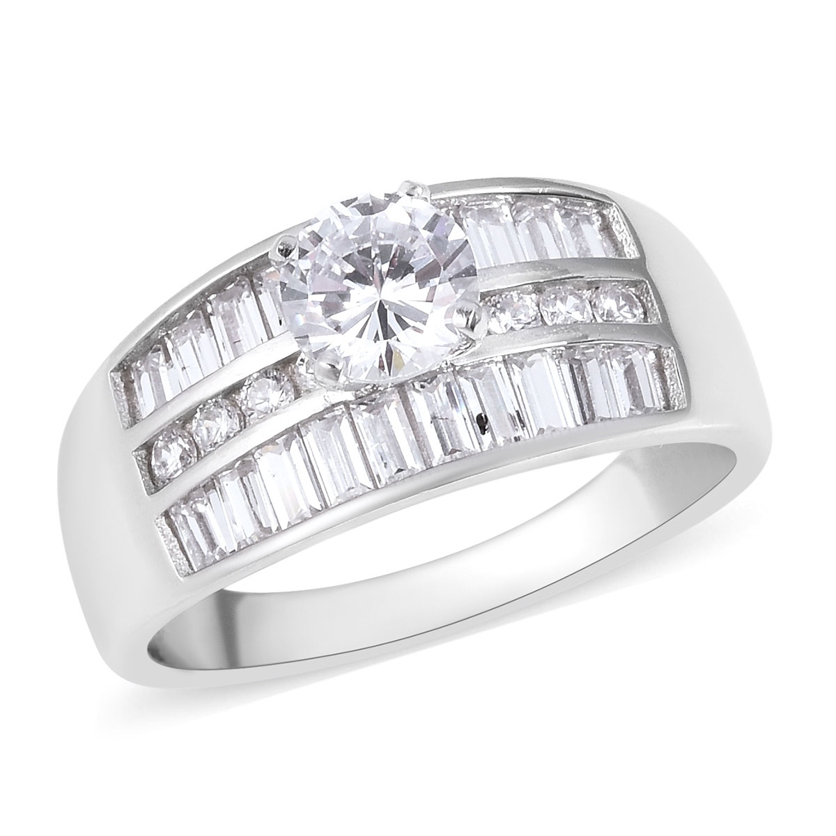 LUSTRO STELLA CZ Ring in Sterling Silver (Size 6.0) 2.73 ctw