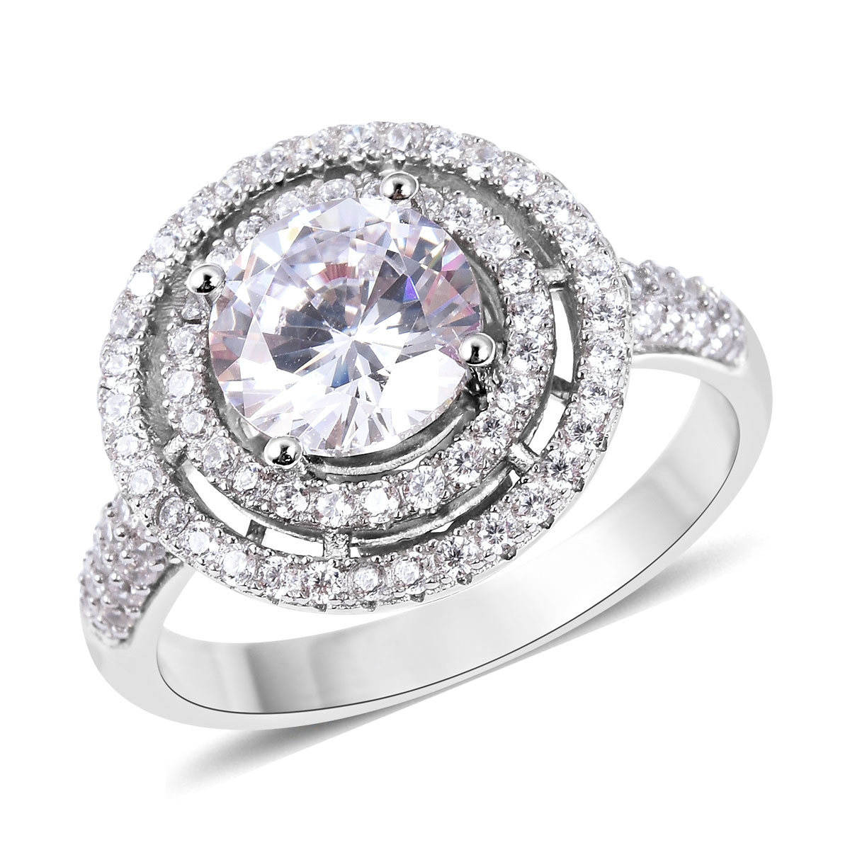 b77ced15bbba2 LUSTRO STELLA CZ Halo Ring in Sterling Silver (Size 11.0) 3.24 ctw