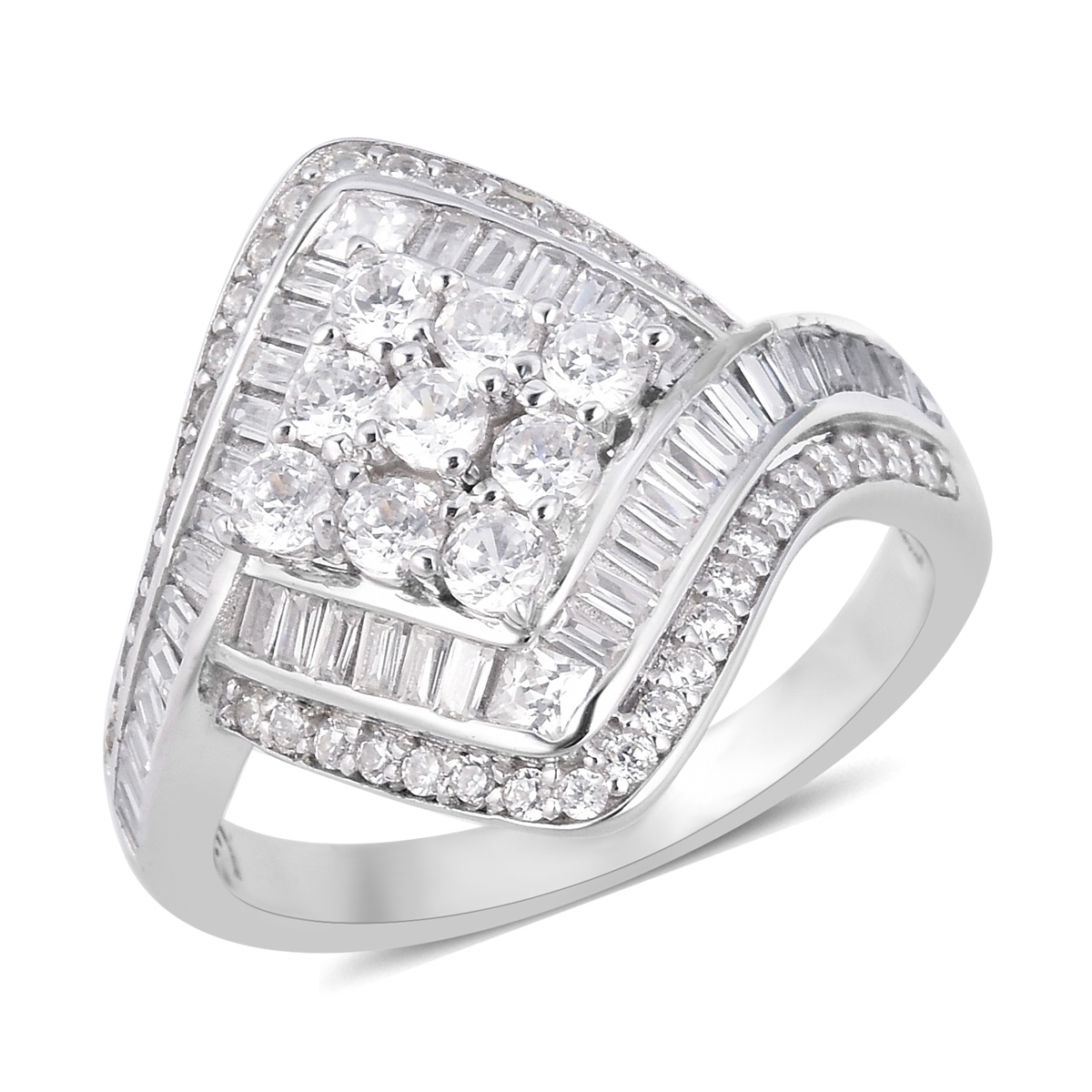 LUSTRO STELLA CZ Ring in Sterling Silver (Size 11.0) 3.15 ctw