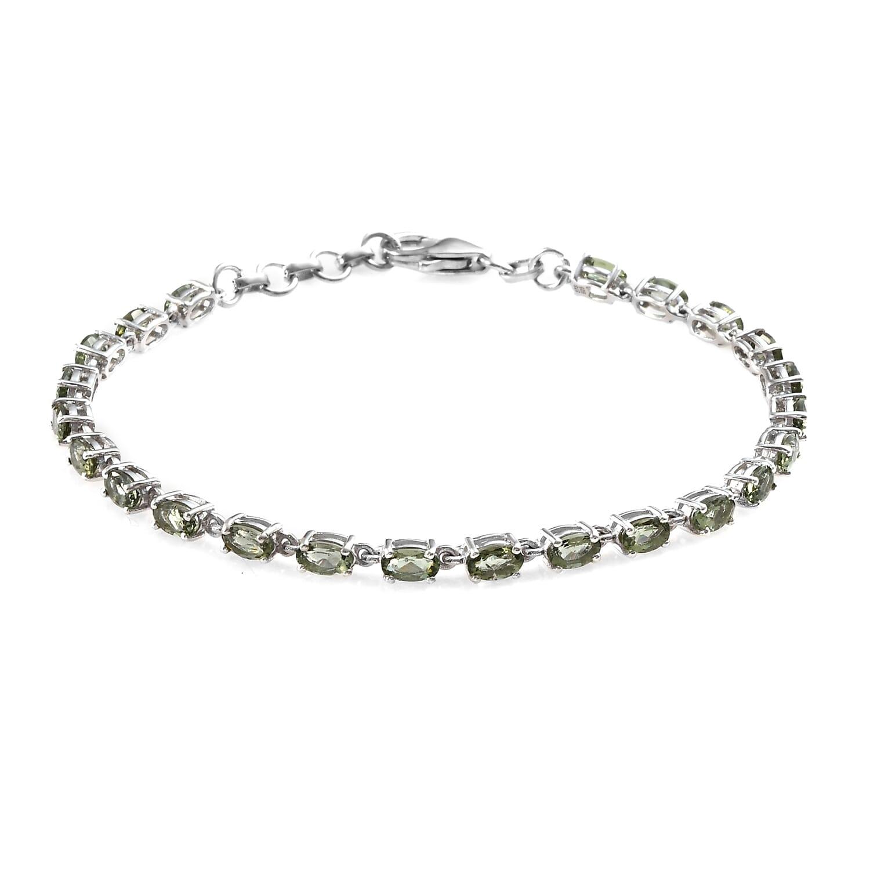 Bohemian Moldavite Bracelet in Platinum Over Sterling Silver (8 00 In) 4 16  ctw