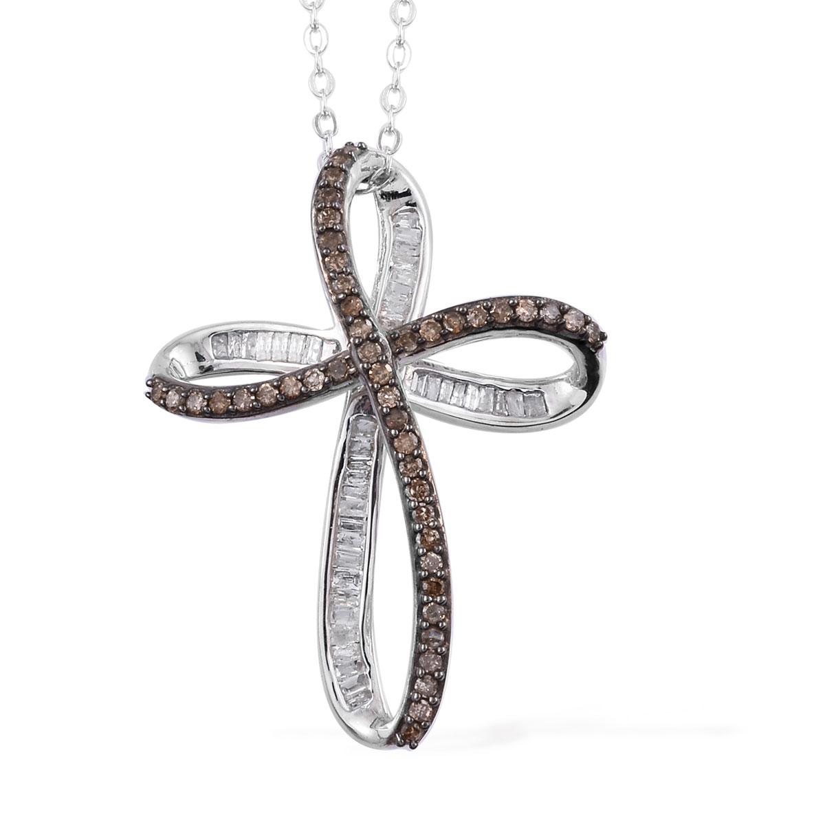 Natural Champagne and White Diamond (0.25 ct) Cross Pendant Necklace (20 in) in Rhodium & Platinum Over Sterling Silver 0.50 ctw