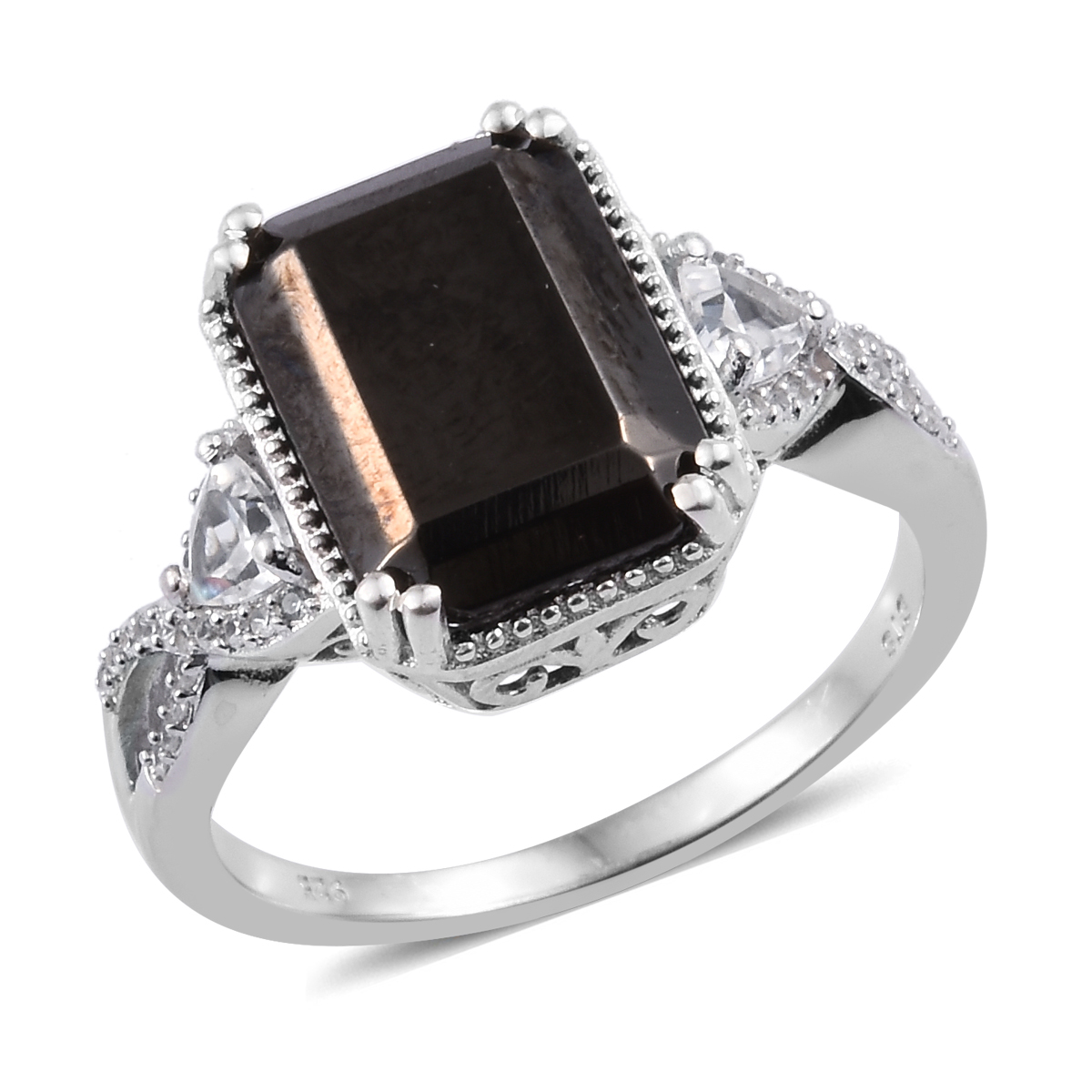 Silver Shungite, Zircon Ring in Platinum Over Sterling Silver (Size 8.0) 5.77 ctw