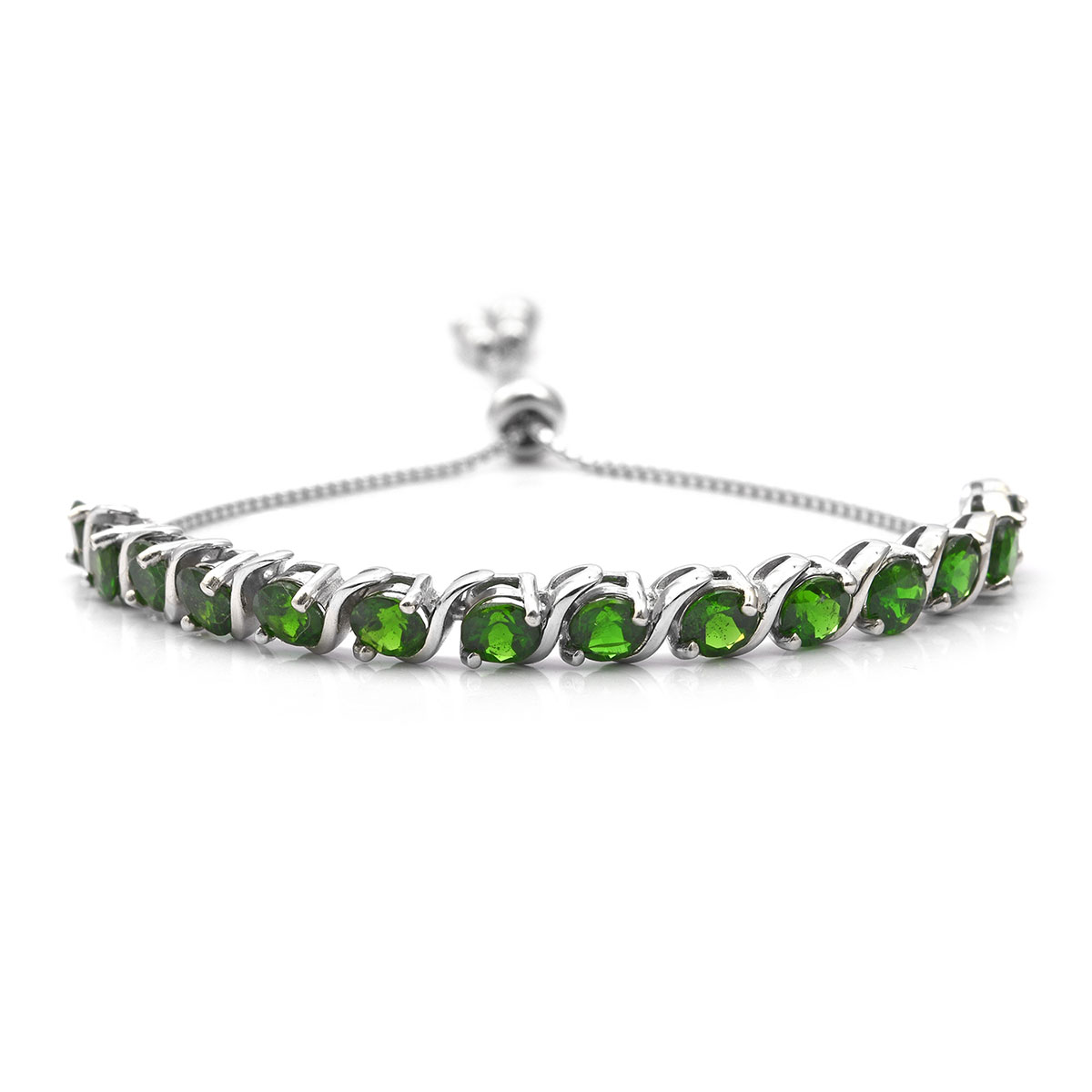 Russian Diopside Bolo Bracelet in Platinum Over Sterling Silver 5.18 ctw