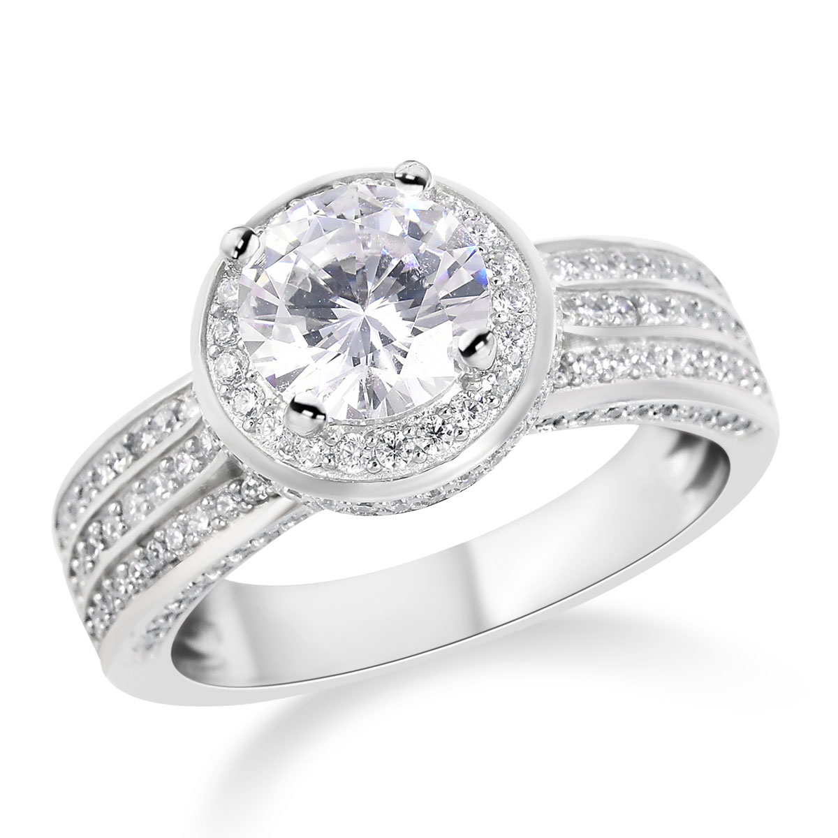 0fca458d7c98a LUSTRO STELLA CZ Halo Ring in Sterling Silver (Size 8.0) 4.56 ctw
