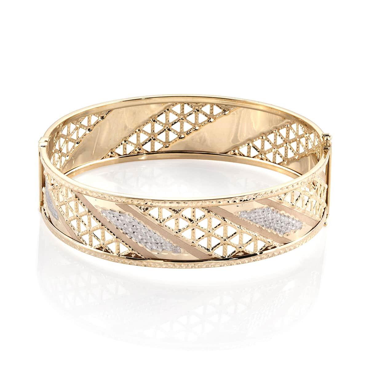Aurumvita Bangle Bracelet (7.25 in) in 10K White Yellow Gold (12.58 g)