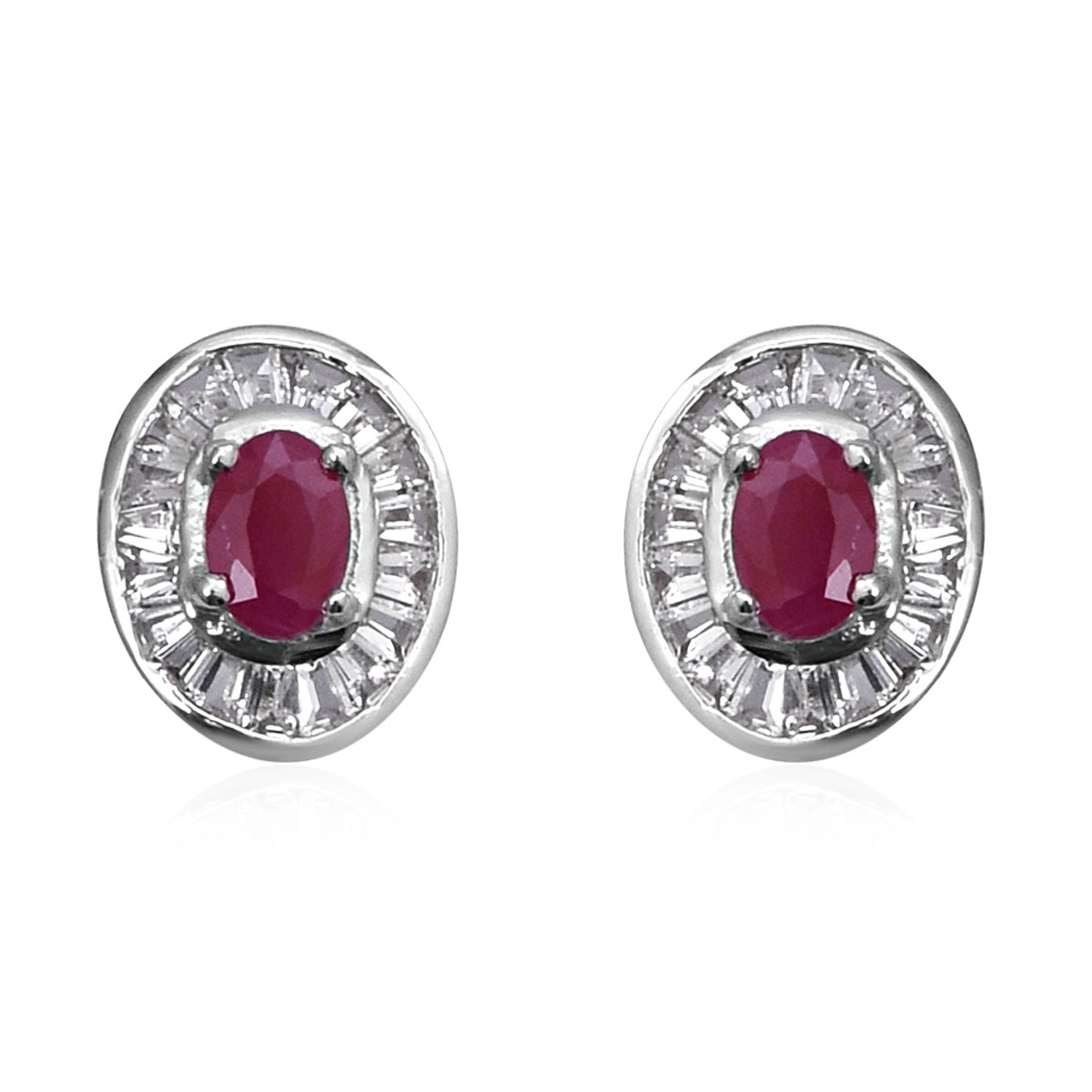 Burmese Ruby, White Topaz Stud Earrings in Platinum Over Sterling Silver 2.05 ctw