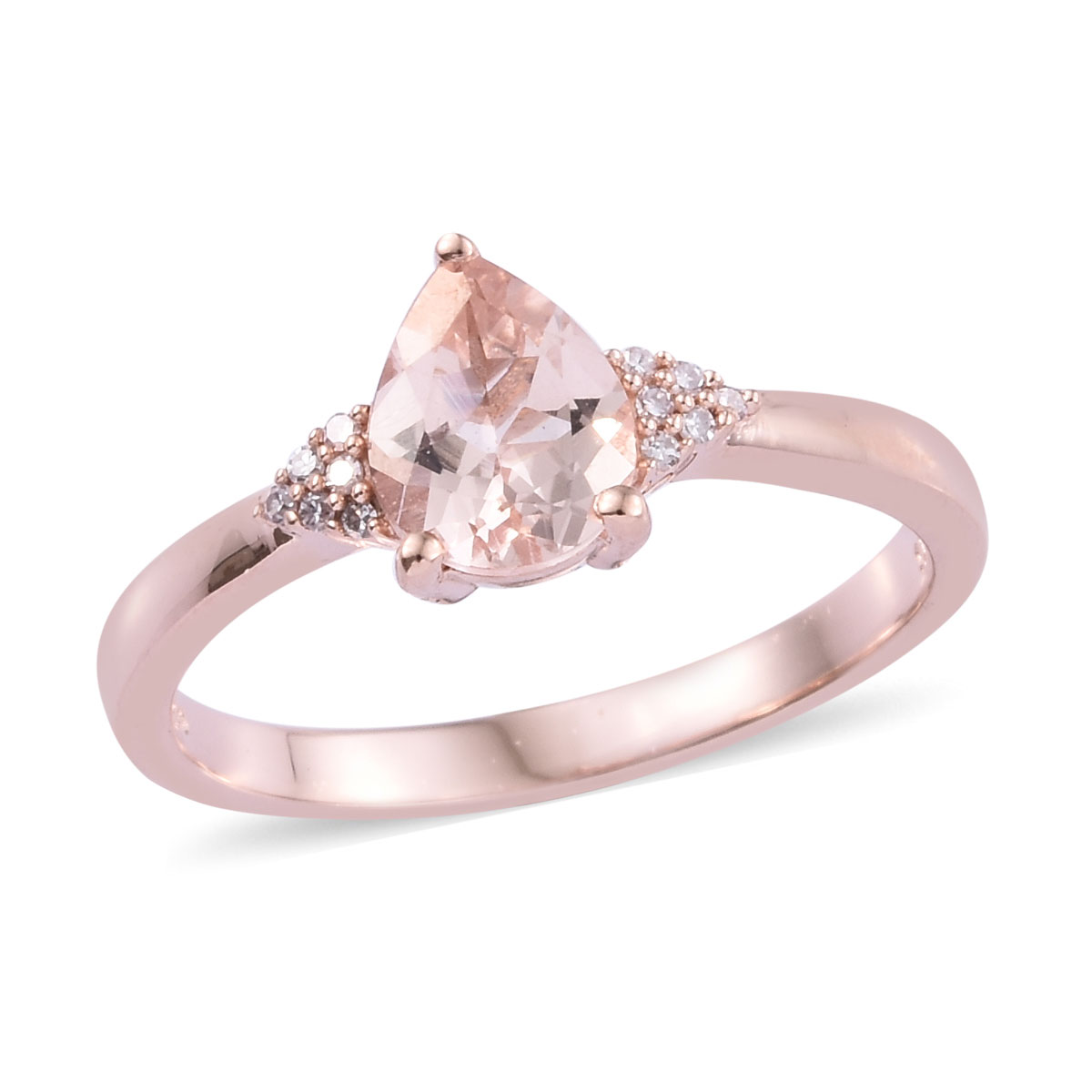 Marropino Morganite, Natural Pink Diamond (0.10 Ct) Ring in Vermeil RG Over Sterling Silver (Size 11.0) 1.55 ctw