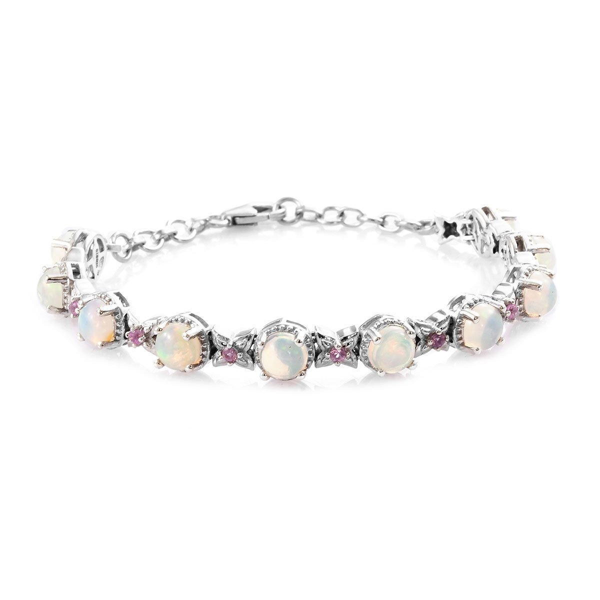 Ethiopian Welo Opal, Madagascar Pink Sapphire Bracelet in Platinum Over Sterling Silver (7.25 In) 6.04 ctw