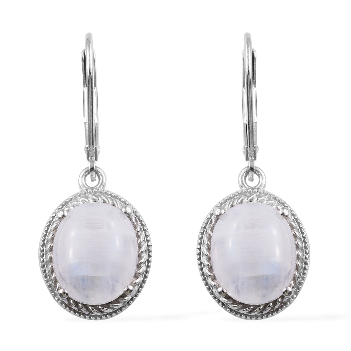 Rainbow Moonstone Earrings In Platinum Over Sterling Silver 9 35 Ctw