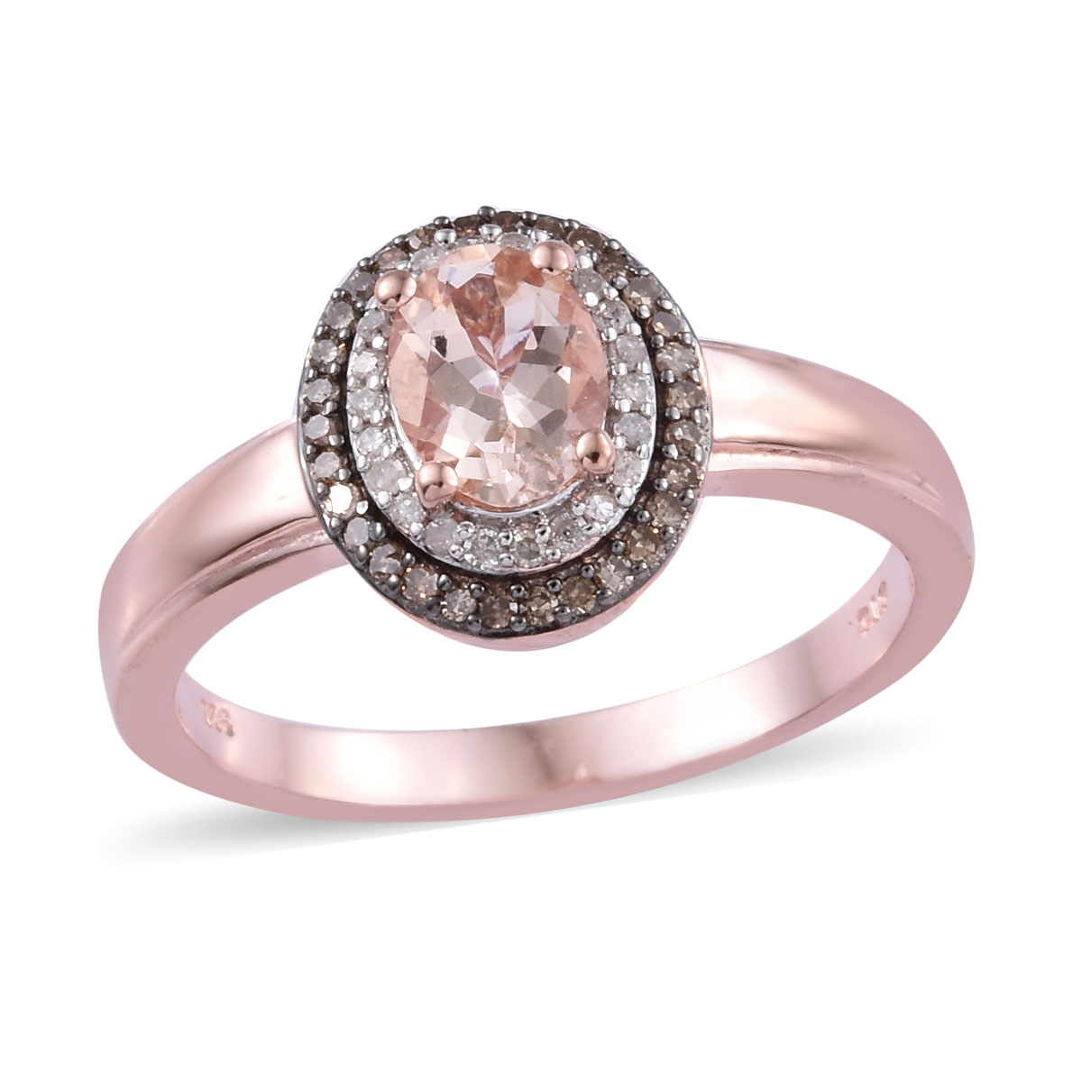 Marropino Morganite, Diamond (0.32 ct) Double Halo Ring in Rhodium & Vermeil RG Over Sterling Silver (Size 10.0) 1.32 ctw