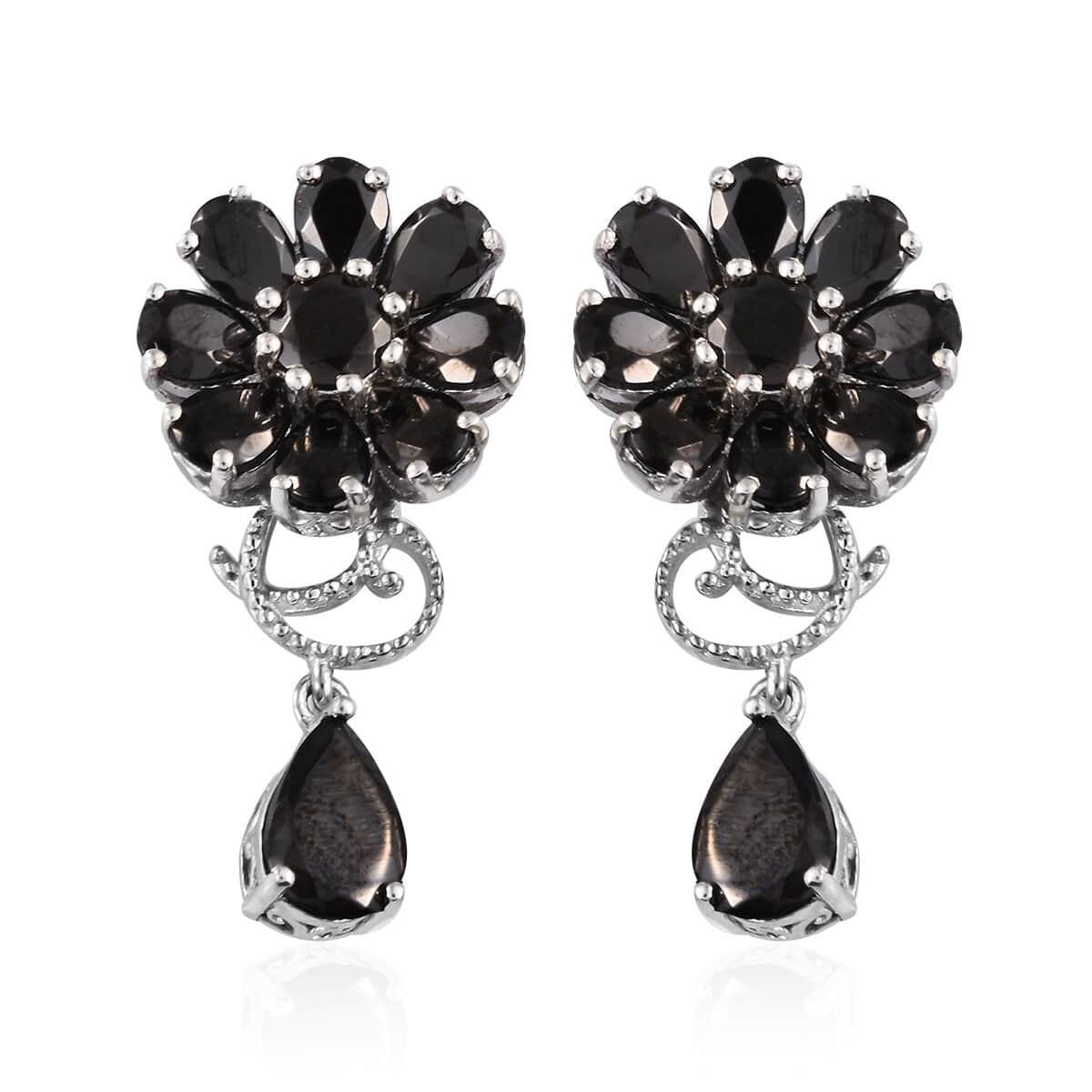 Shungite Earrings in Platinum Over Sterling Silver 6 22 ctw