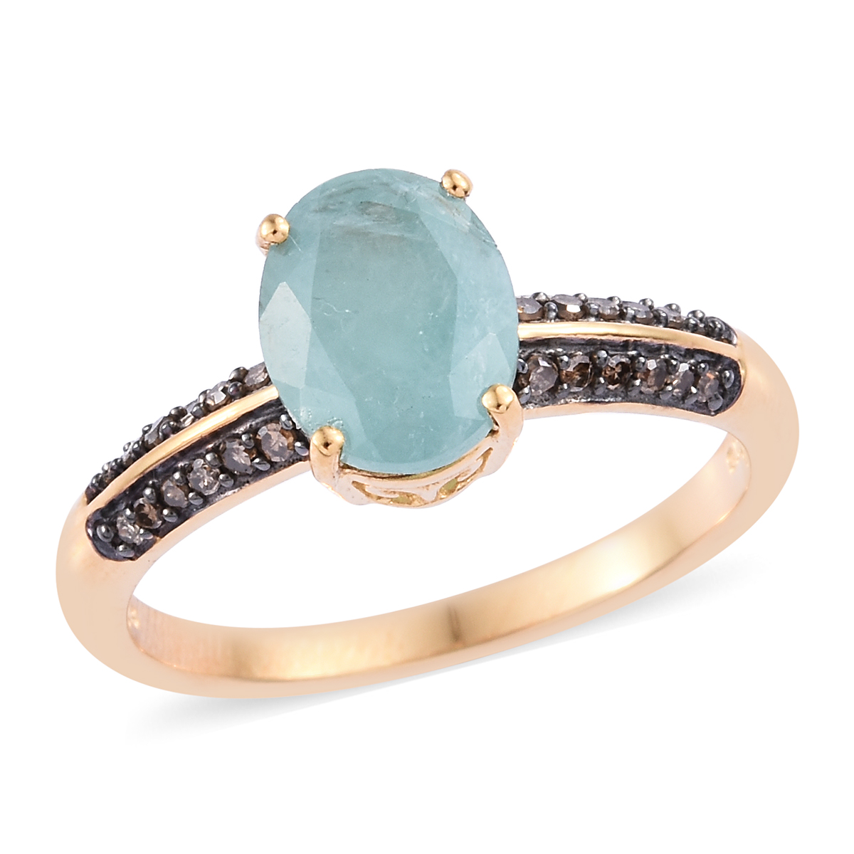 Grandidierite, Natural Champagne Diamond (0.20 ct) Ring in Black Rhodium & Vermeil YG Over Sterling Silver (Size 11.0) 2.80 ctw