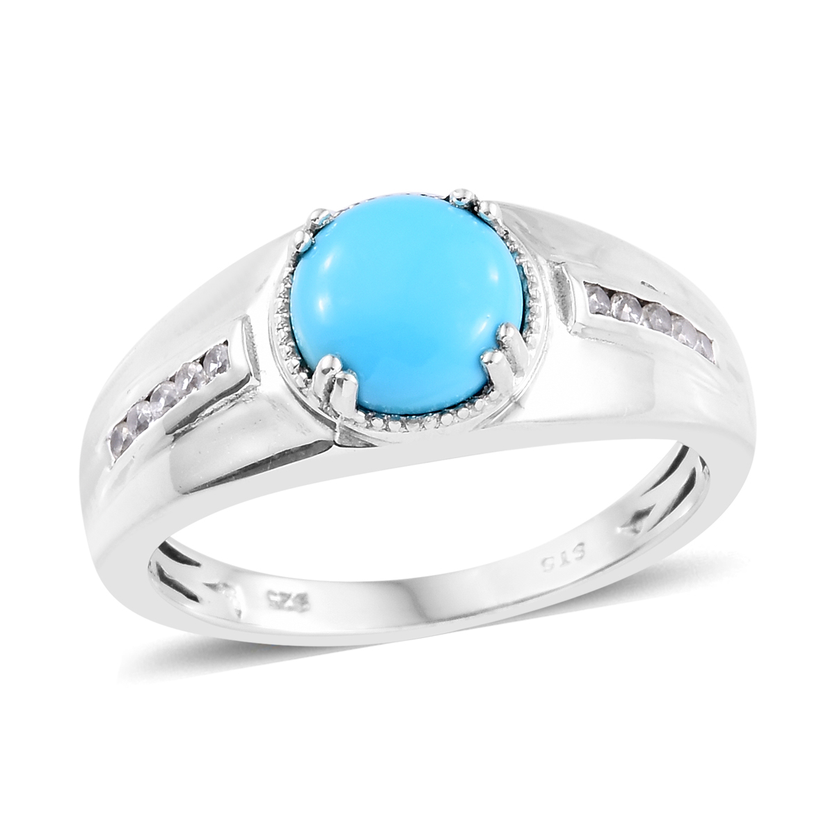 8821d164a491ba Arizona Sleeping Beauty Turquoise, Cambodian Zircon Men's Ring in Platinum  Over Sterling Silver (Size 11.0) 2.70 ctw | Shop LC