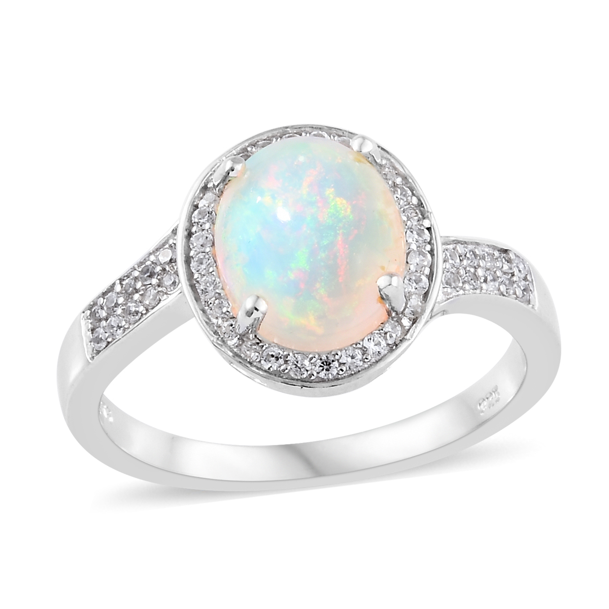 Ethiopian Welo Opal, Cambodian Zircon Ring in Platinum Over Sterling Silver (Size 9.0) 2.70 ctw