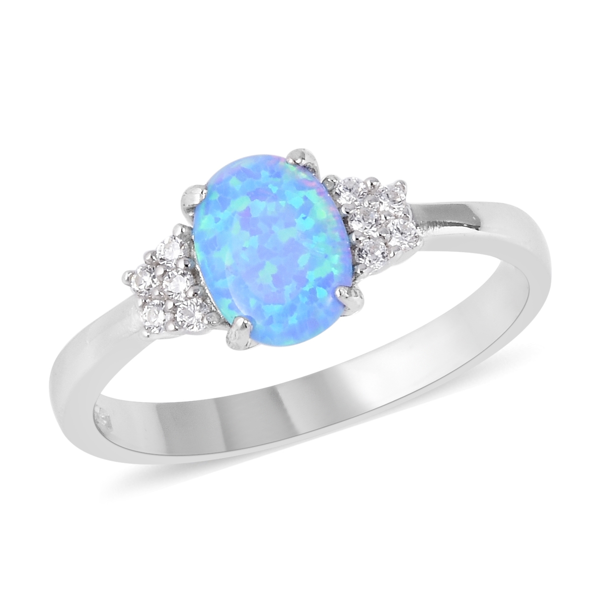 812499860e3d12 Simulated Blue Opal, White CZ Ring in Sterling Silver (Size 5.0) 3.43 ctw |  Shop LC