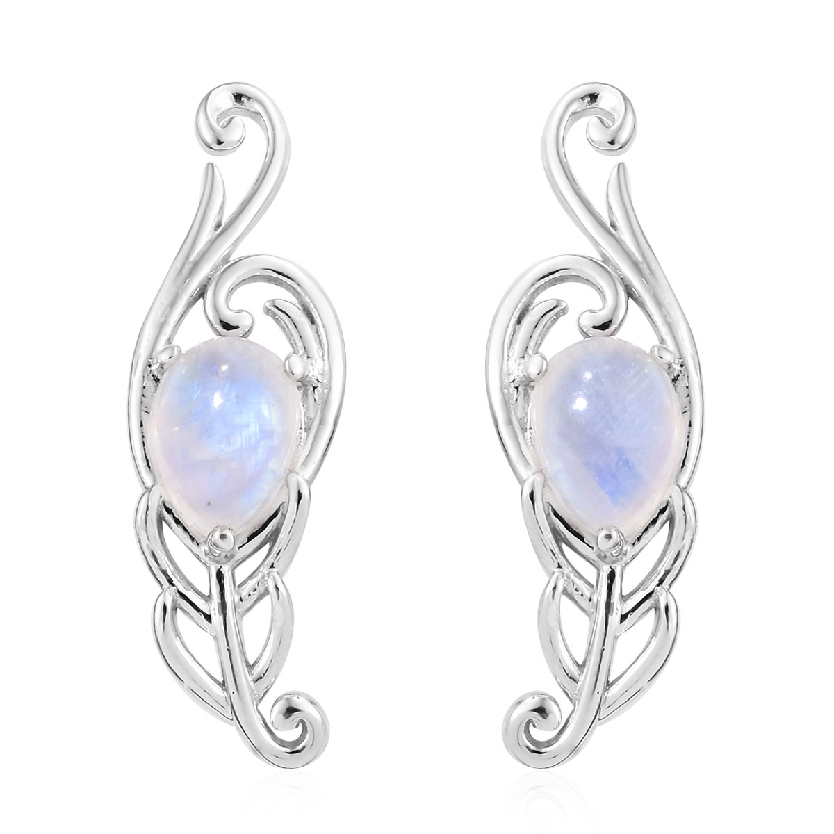 Rainbow Moonstone Earrings In Platinum Over Sterling Silver 3 12 Ctw