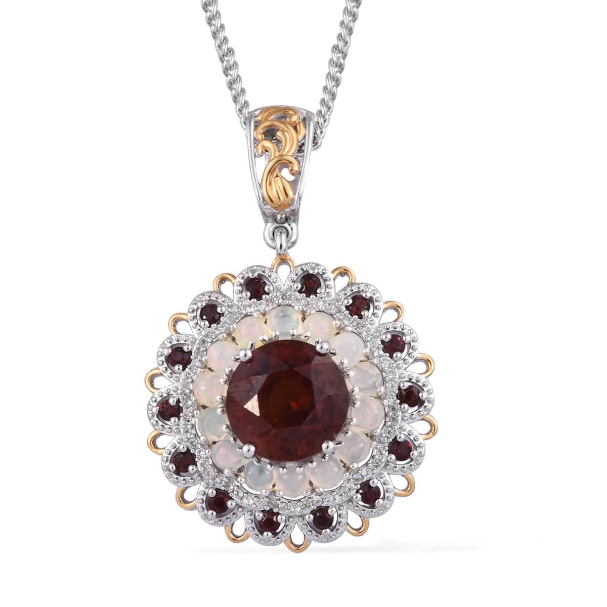 AAA Premium Ratnapura Hessonite Garnet, Multi Gemstone Pendant Necklace (20 in) in Vermeil YG and Platinum Over Sterling Silver 8.40 ctw