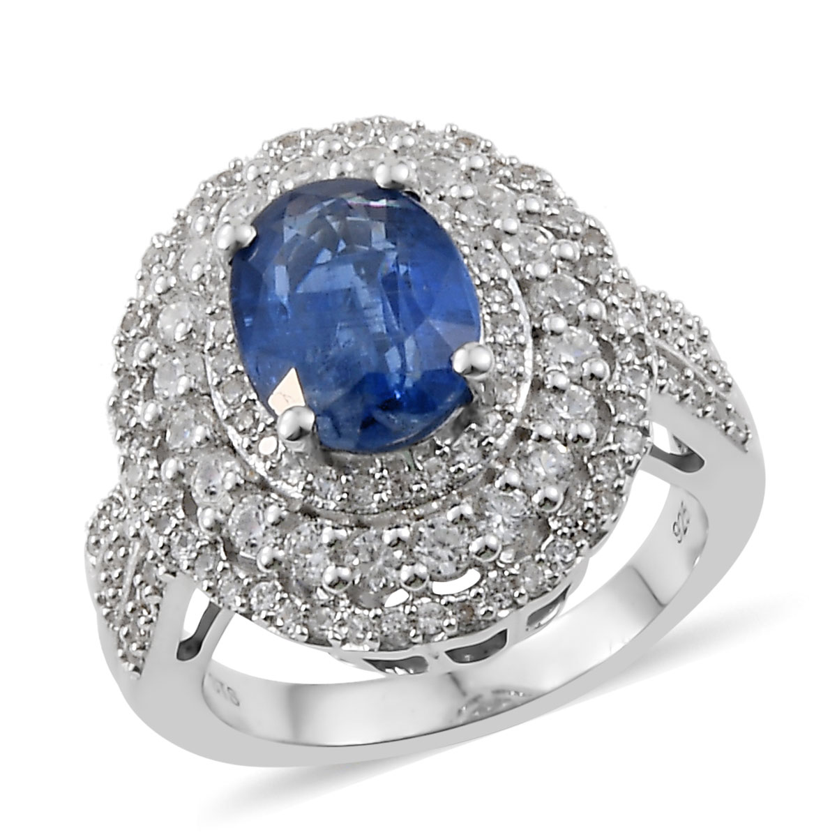 925 Silver Platinum Plated Petalite Cambodian Zircon Engagement Cluster Ring
