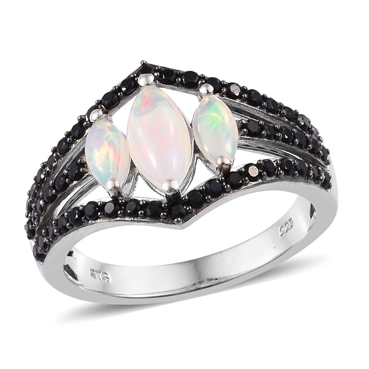 Ethiopian Welo Opal, Thai Black Spinel Ring in Platinum Over Sterling Silver (Size 11.0) 2.12 ctw