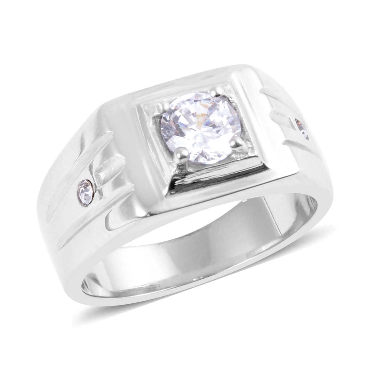 Simulated Diamond Ring in Stainless Steel (Size 13.0) 1.55 ctw