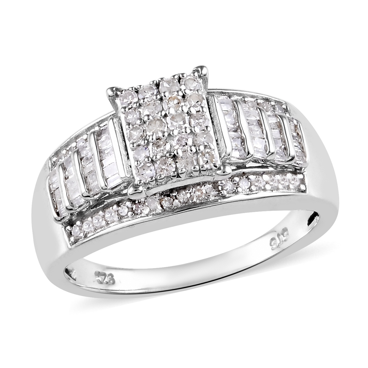 Loretta's Host Pick Diamond Ring in Platinum Over Sterling Silver (Size 5.0) 0.75 ctw
