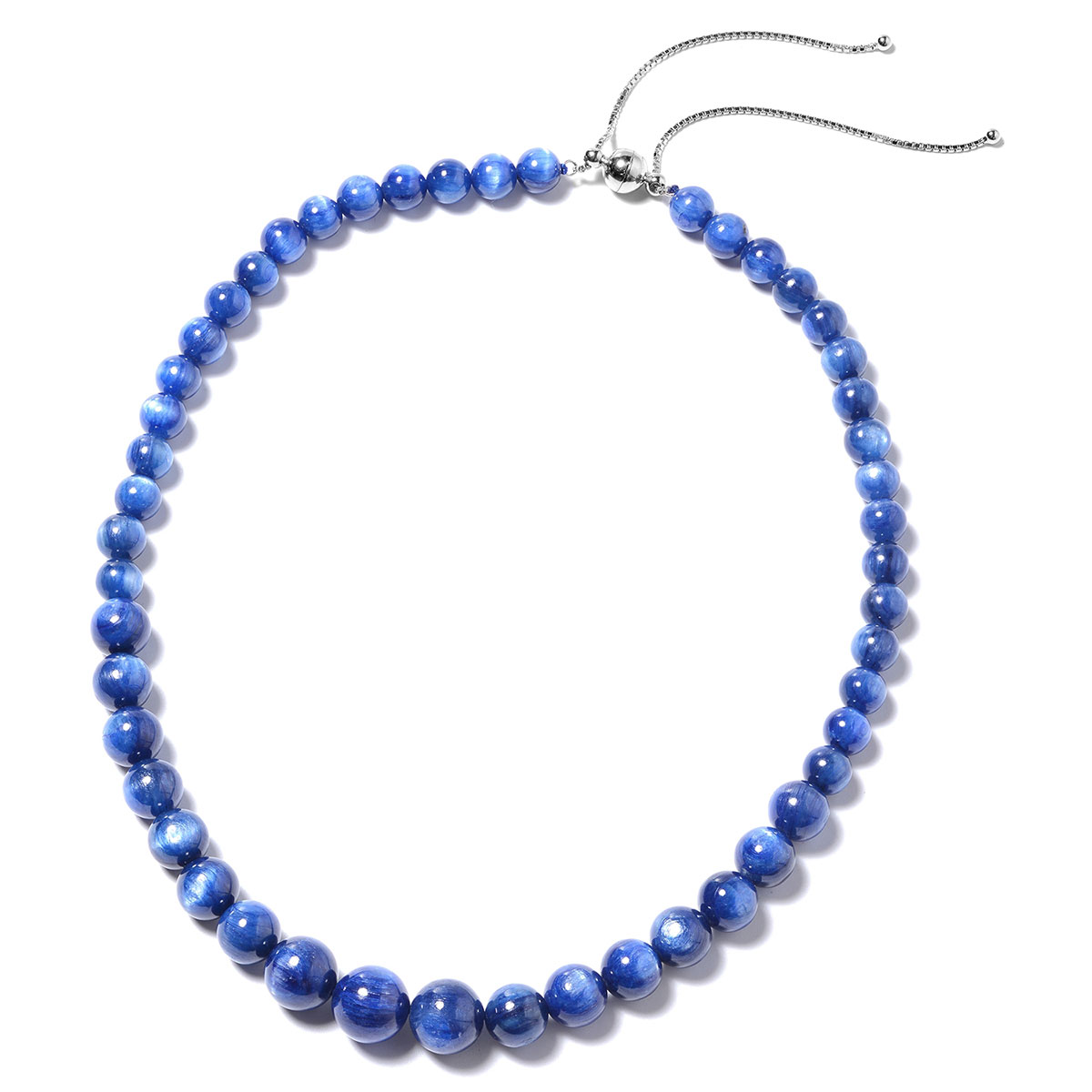 Kyanite Bead Necklace (18-24 in) (Adjustable) in Sterling Silver 345.50 ctw