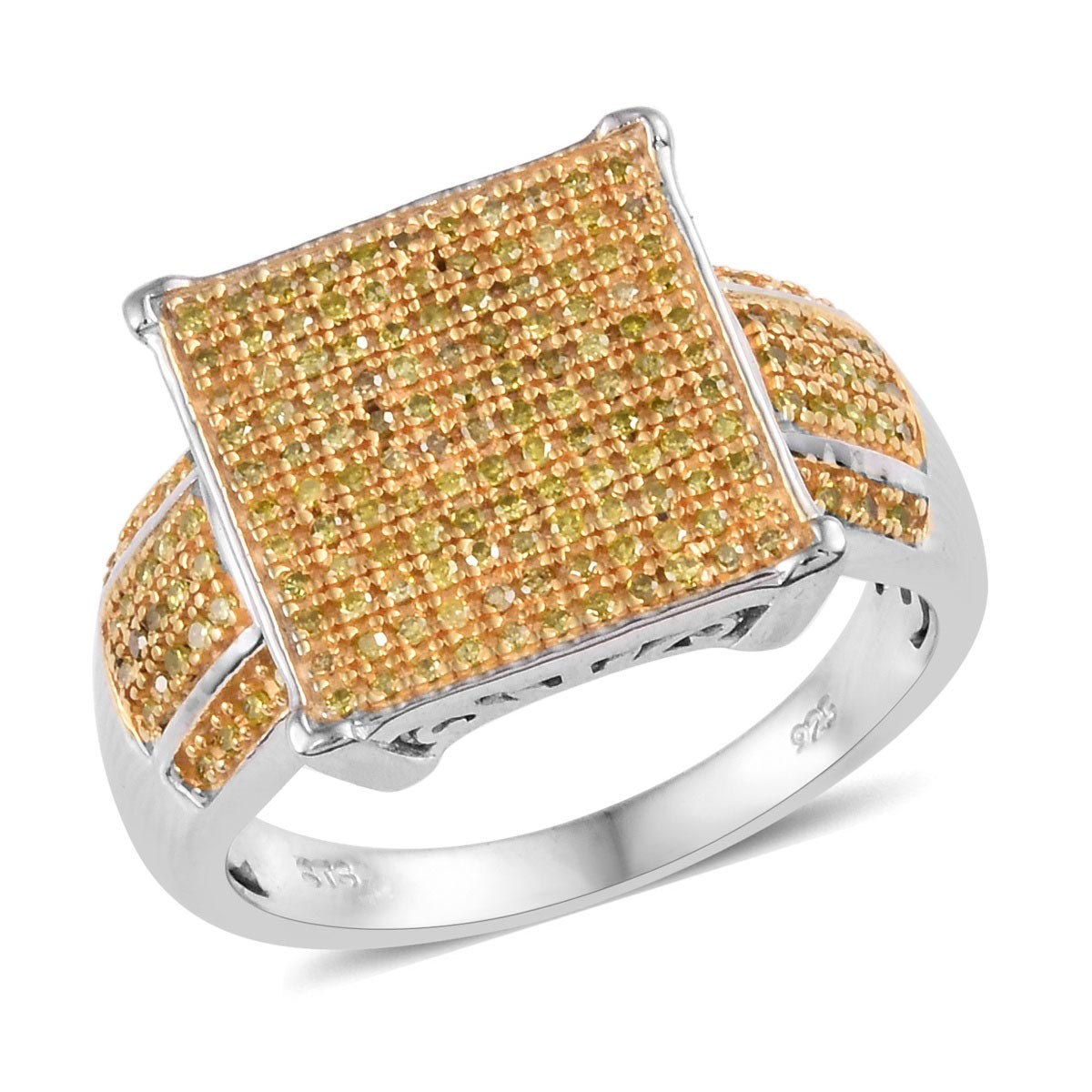 Yellow Diamond (IR) Ring in Yellow Rhodium & Platinum Over Sterling Silver (Size 5.0) 0.50 ctw