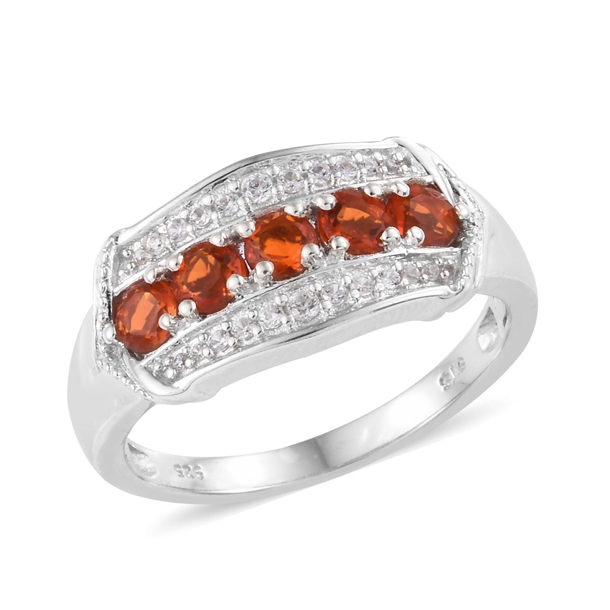 Crimson Fire Opal, Cambodian Zircon Ring in Platinum Over Sterling Silver (Size 8.0) 0.82 ctw