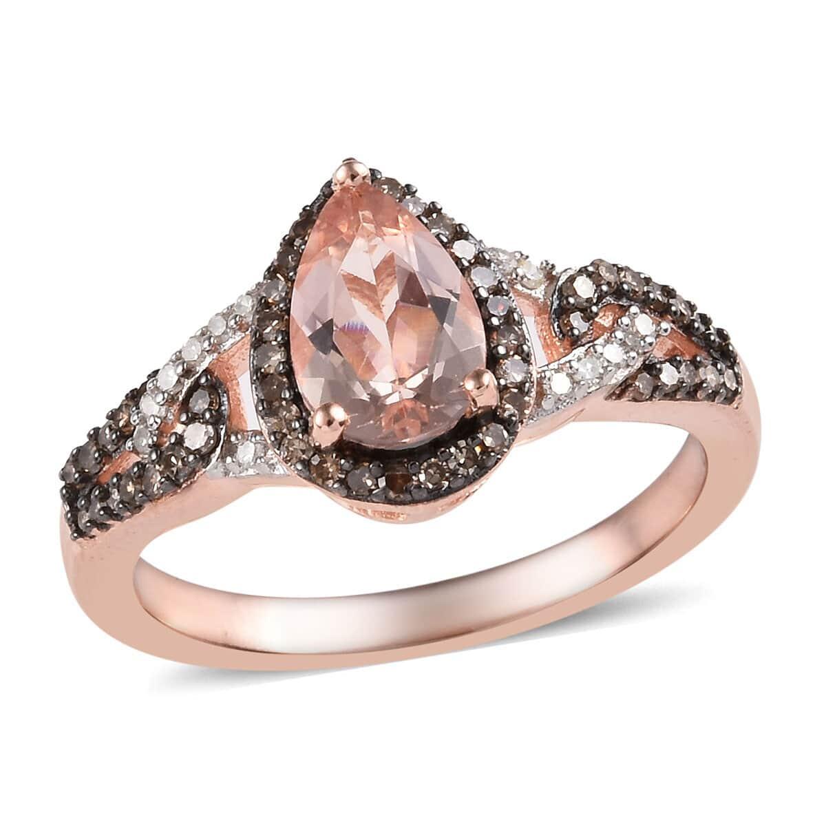 Marropino Morganite, Natural Champagne & White Diamond (0.32 ct) Ring in Rhodium & Vermeil RG Over Sterling Silver (Size 7.0) 1.52 ctw
